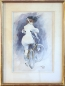 Mobile Preview: Happel, Carl. Aquarell Gouache.  Elégantes à bicyclettes -  (Elegante Dame mit Fahrrad) (01820)